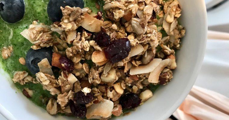 Greenie Breakfast Bowl with Homemade Granola
