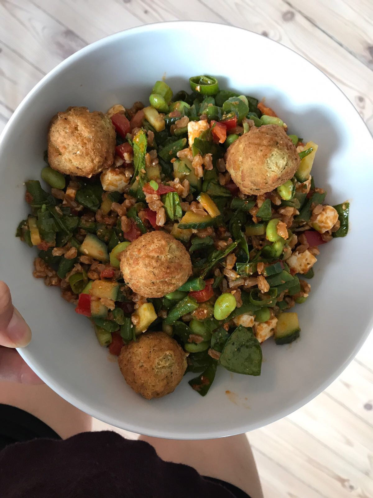 Meat Free Salad with Falafel and Red Pesto