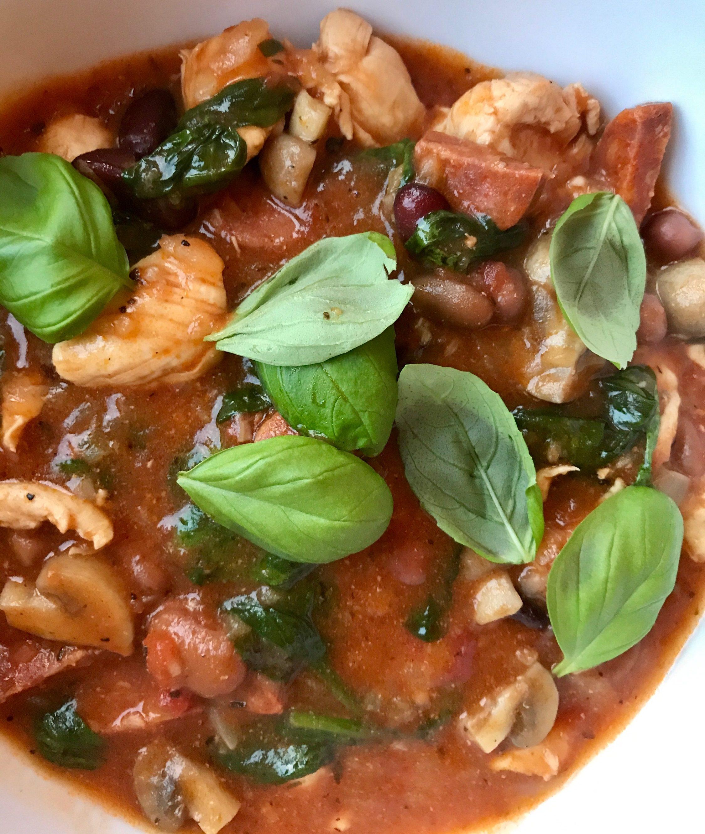 Autumn chicken chorizo and mixed bean stew